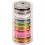 Schmuckdraht mit Nylonummantelung, 10 versch. Farben á 5 Meter, 0,38mm breit