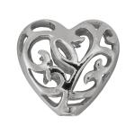 Herzperle mit Ornament, 925 Sterling Silber, 12X12mm
