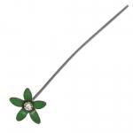 Fädelstift mit Strass, 65X9mm, grasgrün (silberfarben)