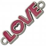 Love-Anhänger, 35X10mm, Metall, pink (silber)