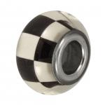 Großlochperle mit Schachbrettdesign, 14mm, schwarz