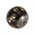 Perle mit Hundepfotendesign, 12mm, schwarz