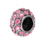 Großlochperle mit 32 Strass-Steinen, 12mm, rosa / silberfarben