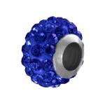 Großlochperle mit ca. 70 Strass-Steinen, 11mm, royalblau