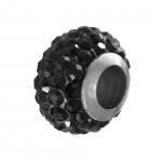 Großlochperle mit ca. 70 Strass-Steinen, 11mm, schwarz