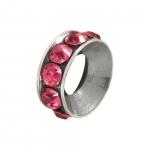 Spacer mit Strass, 10mm, rund, rosa (silberfarben)