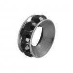 Spacer mit Strass, 10mm, rund, schwarz (silberfarben)