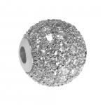 Juwelierperle, 10mm, rund, transparent/ silberfarben