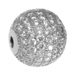 Juwelierperle, 12mm, rund, transparent/ silberfarben