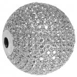 Juwelierperle, 20mm, rund, transparent/ silberfarben