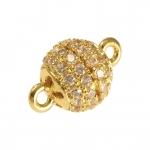 Juwelier-Kugelverschluß mit Strass, 8mm, Metall, goldfarben