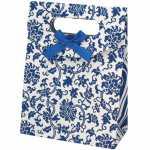 Geschenkverpackung 'Ranke', naturweiß-blau