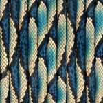 Geprägtes Kunstlederband, 5mm, 50cm, natur-blau