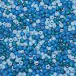 Holzperlen Mix (10 Gramm, ca. 140 Stück), ca. 6 mm, hellblau, dunkelblau, türkis