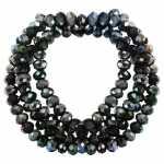 Perlenstrang (145 Perlen), briolette, 3X2mm, schwarz silber