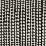 Geflochtenes Kunstlederband, 50cm, 11X3mm breit, schwarz-weiß