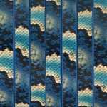 Geprägtes Kunstlederband, 10X2mm, 60cm, natur-blau