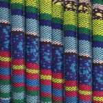 Gemustertes Schmuckband, 50cm, 6mm breit, blau mehrfarbig