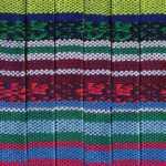 Gemustertes Schmuckband, 50cm, 10mm breit, blau mehrfarbig
