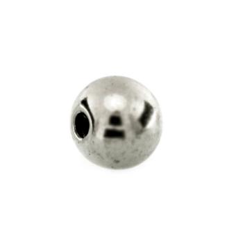 Perle (5 Stück), 6mm, rund, silberfarben