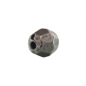 Perle, 6mm, rund, dunkel grau metallic