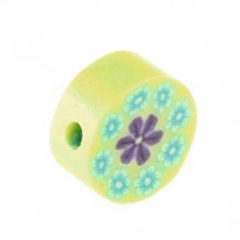 Fimoperle, 10mm, Blütenmotiv, hellgrün