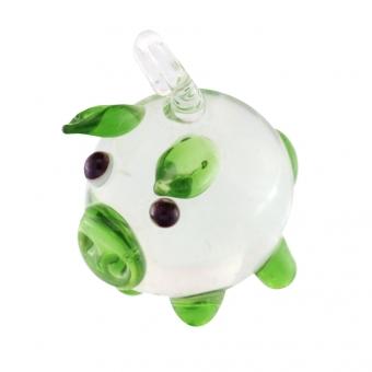 Glas, 18X14mm, Glücksschwein, transparent