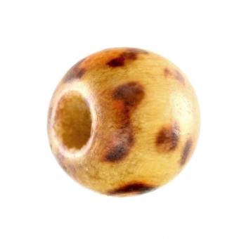 Holzperle, 10mm, rund, braun-beige