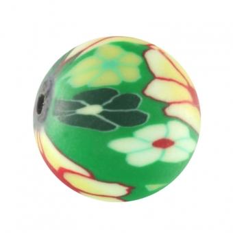 Fimoperle,12mm, rund, grasgrün