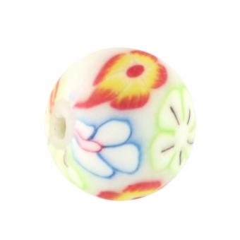 Fimoperle,10mm, rund, eierschalen weiß