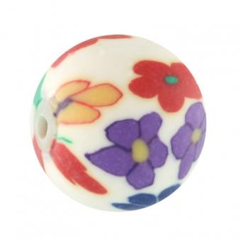 Fimoperle,12mm, rund, eierschalen weiß