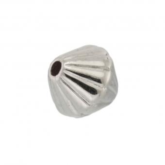 Perle (10 Stück), 6mm, bikonisch, silberfarben