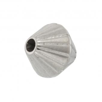 Perle (10 Stück), 8mm, bikonisch, silberfarben