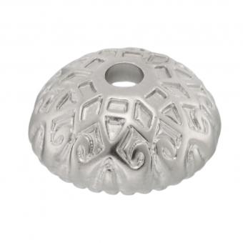 Perlenkappe, 15X6mm, rund, silberfarben