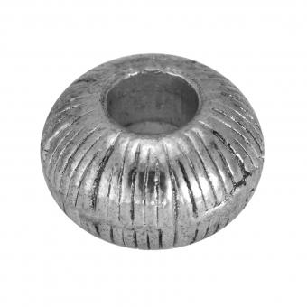 Großlochperle, Metall, 12mm, silberfarben