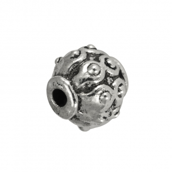 Metallperle mit Ornament, 8mm, silberfarben