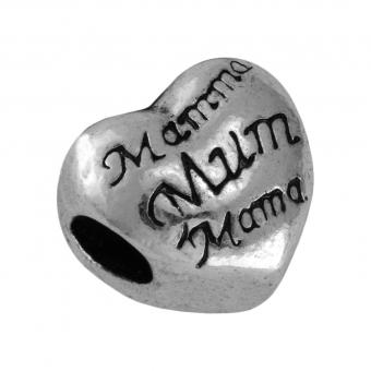 "Großlochperle ""Mama"", 12X10mm, Metall, silberfarben"