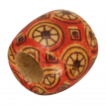 Holzperle, 16X15mm, rot-orange