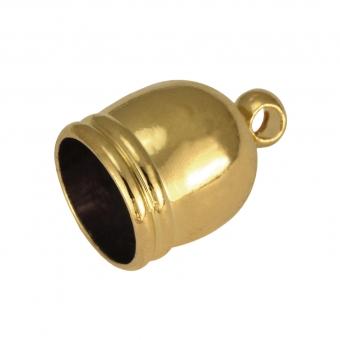 Endkappe mit Öse, 12mm, Loch-Ø 8mm, goldfarben