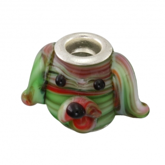 Großlochperle, 14X14mm, Hund, Glas, grün-rot