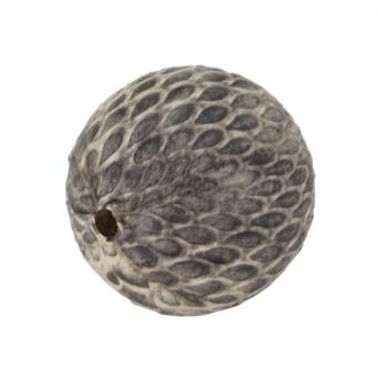 Perle aus Leder, 15mm, rund, naturfarben