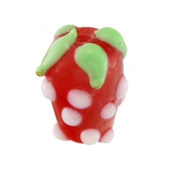 Motivperle aus Glas, 7X4mm, Erdbeere, rot