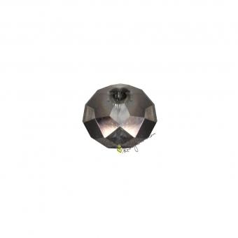 Glasschliffperle (10 Stück), 5X3mm, briolette, silber metallic
