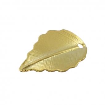Anhänger, 17X10mm, Blatt, Metall, goldfarben