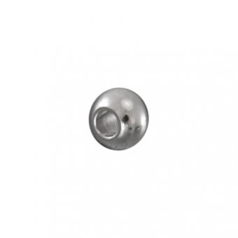 Perle (5 Stück), 3,5X2,5mm, Metall, rund, silberfarben