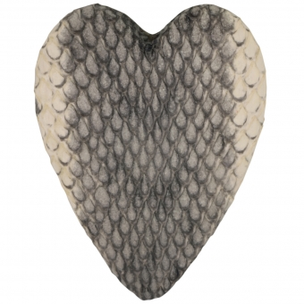 Perle aus Leder, 40X30mm, Herz, naturfarben