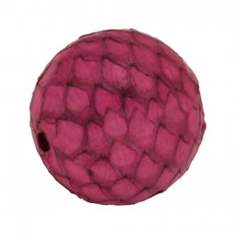 Perle aus Leder, 15mm, rund, pinkpink