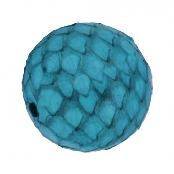 Perle aus Leder, 15mm, rund, türkis