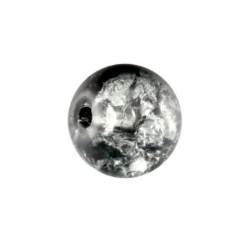 Glasperle in Kristalloptik, 8mm, rund, schwarz-transparent schwarz-transparent
