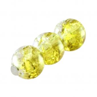 Glasperle in Kristalloptik, 6mm, rund, gelb-transparent gelb-transparent